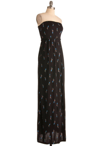 Au Parrot Dress - Long, Print with Animals, Casual, Maxi, Strapless, Black, Multi, Belted, Beach/Resort