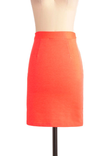 Neon the Scene Skirt - Mid-length, Orange, Solid, Casual, Summer
