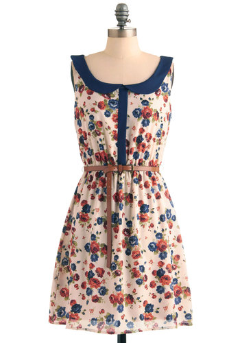 Afternoon at the Arboretum Dress - Mid-length, Blue, Pink, Floral, Peter Pan Collar, Party, A-line, Tank top (2 thick straps), Multi, Tan / Cream, Spring, Exclusives