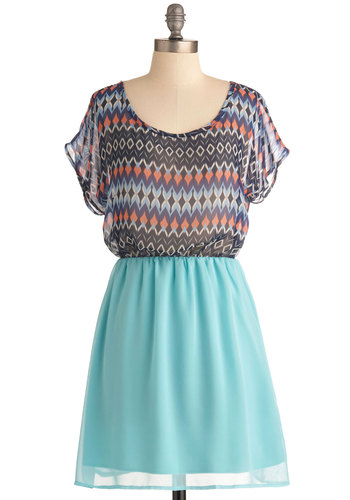 Sea Blue Diamond Dress - Mid-length, Multi, Orange, Black, White, Print, Casual, Short Sleeves, Spring, Green, Blue, Scoop, Summer
