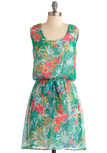 Say Hibiscus For Me Dress - Mid-length, Green, Multi, Multi, Floral, Casual, Shift, Tank top (2 thick straps), Summer