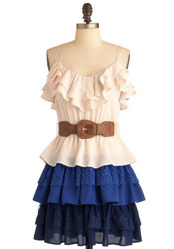 Tide As You May Dress - Mid-length, Blue, Tan / Cream, Solid, Ruffles, Party, A-line, Spaghetti Straps, Lace, Tiered