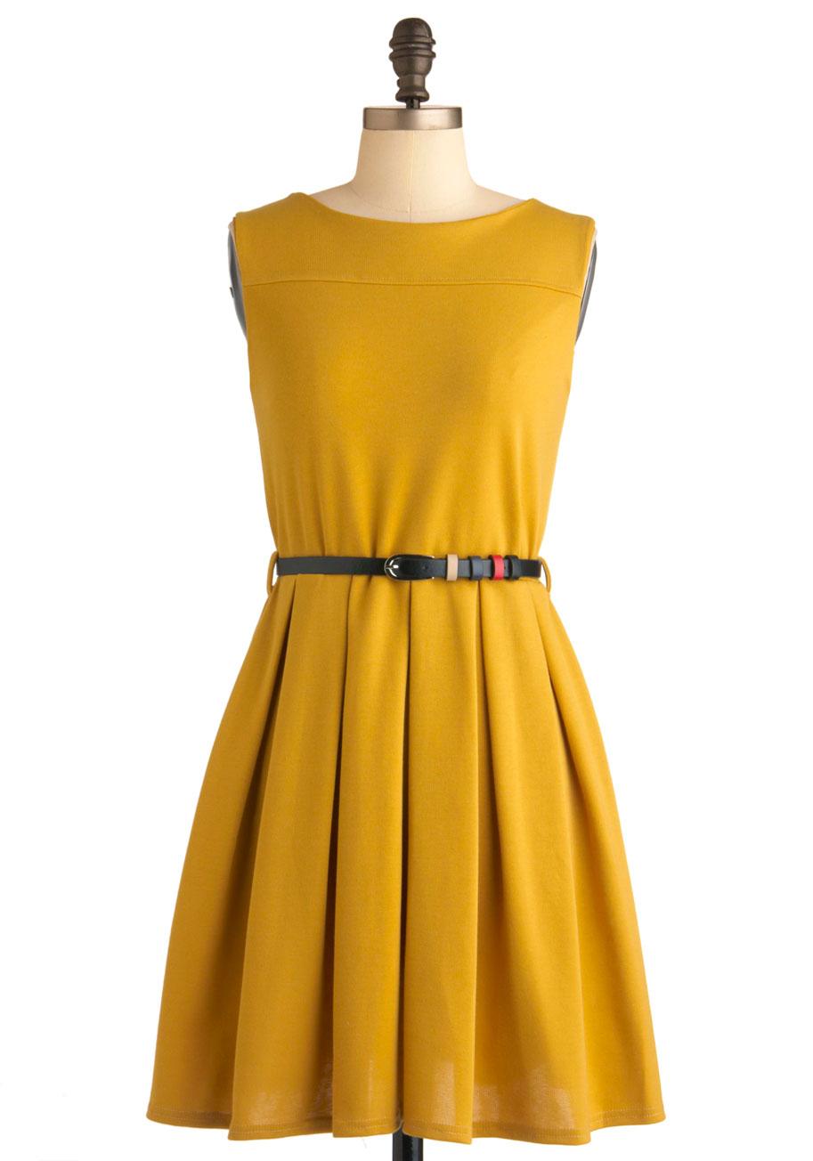 U0026#39;Tis a Shift to Be Simple Dress in Mustard | Mod Retro Vintage Dresses | ModCloth.com
