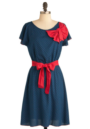 Polka Dot Parade Dress by Ruby Rocks - Mid-length, Blue, Red, Polka Dots, Bows, A-line, Short Sleeves, Belted