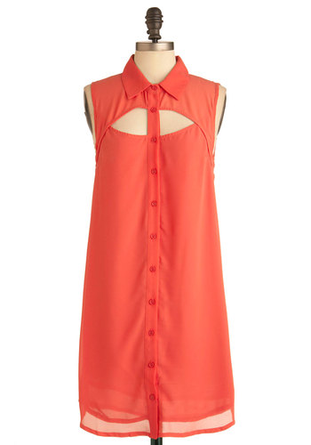 Story of My Life Dress - Mid-length, Orange, Solid, Cutout, Casual, Sleeveless, Shift, Button Down, Collared, Coral