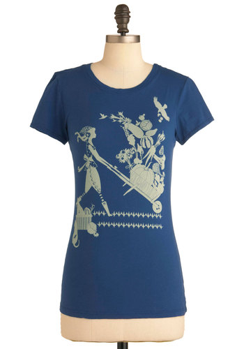 Garden Share the Love Tee - Mid-length, Blue, Tan / Cream, Casual, Short Sleeves, Cotton