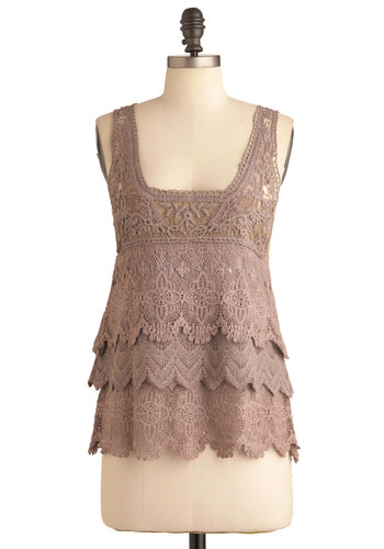 Enchanted by Acoustics Top - Mid-length, Solid, Lace, Tiered, Casual, Tan, Tank top (2 thick straps)