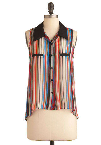 City Style-line Top - Mid-length, Multi, Stripes, Casual, Sleeveless, Multi, Buttons, Pockets