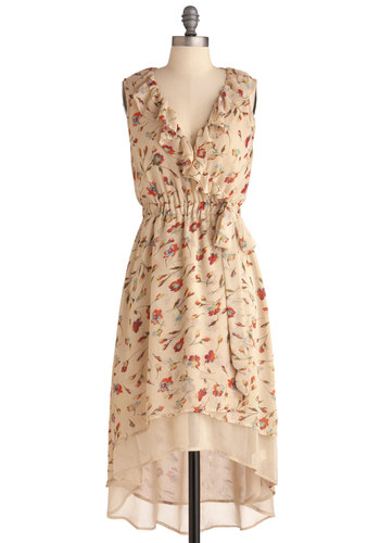 Flower Play Dress - Long, Tan, Multi, Multi, Floral, Ruffles, Tiered, Casual, Wrap, Sleeveless, Sheer