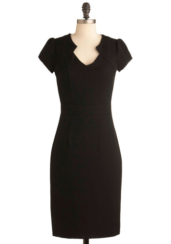 Work the Right Angle Dress - Long, Black, Solid, Work, Vintage Inspired, 60s, Shift, Short Sleeves, Pinup, LBD