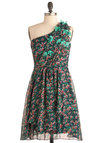 Wildflower at Heart Dress - Mid-length, Multi, Green, Pink, Floral, Flower, Party, One Shoulder, Ruching