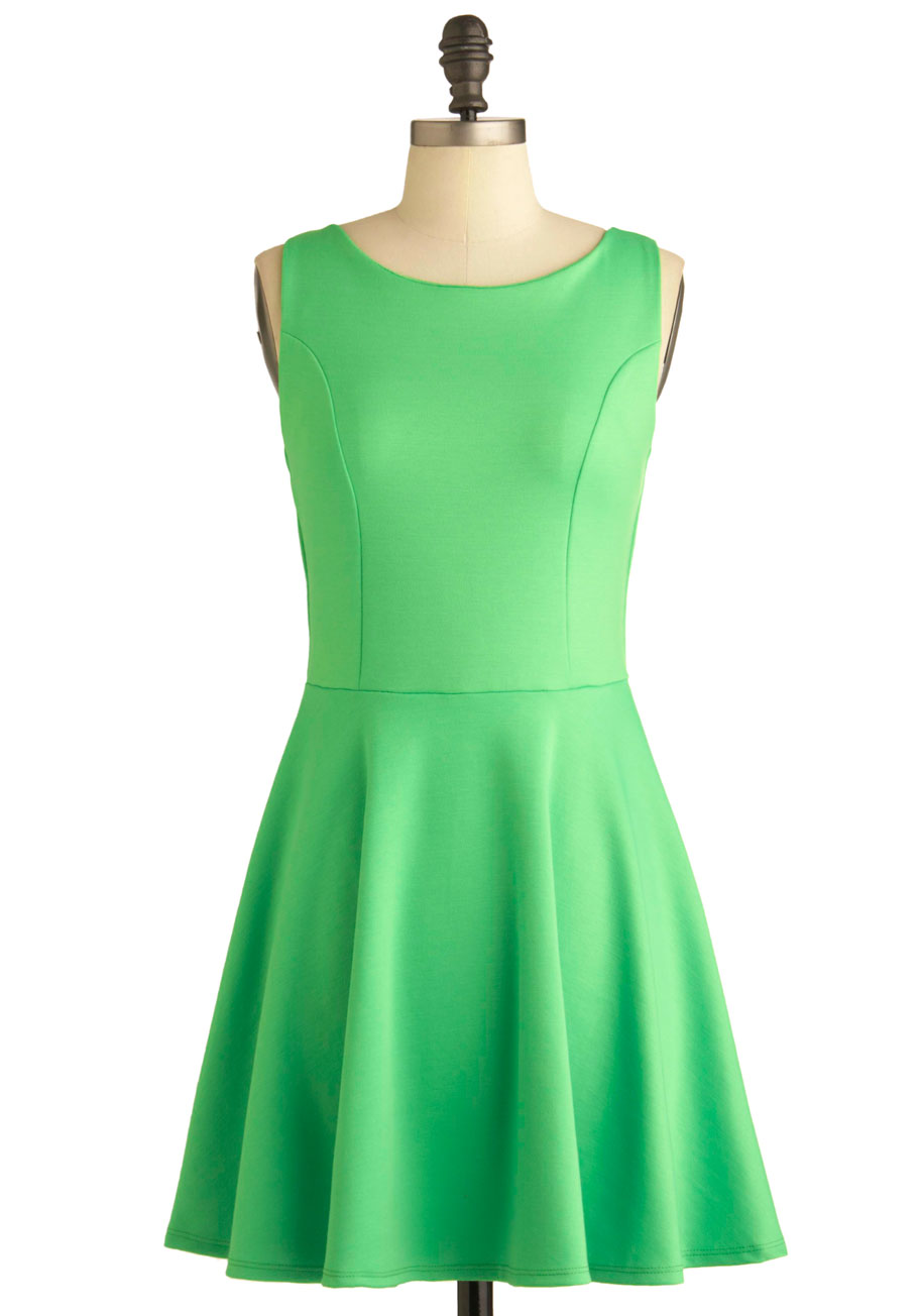 Green Appletini Dress - Mid-length, Green, Solid, Backless, Casual, A ...
