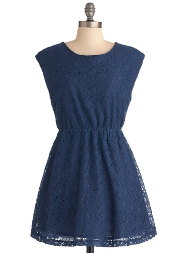 Will Blue Be Mine? Dress - Short, Blue, Cutout, Lace, Casual, A-line, Solid, Cap Sleeves