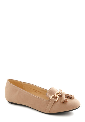 Hop, Kick, and a Jump Flat - Tan, Solid, Tassles, Menswear Inspired, Faux Leather, Flat