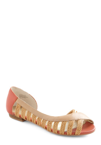 Nine Lives Flat by Seychelles - Cream, Pink, Braided, Cutout, Summer, Leather, Peep Toe, Flat