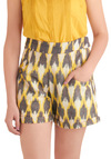 Ikat's Out of the Bag Shorts by Mata Traders - White, Pockets, Casual, Summer, Yellow, Grey, Print, Short, Eco-Friendly, High Waist, Cotton