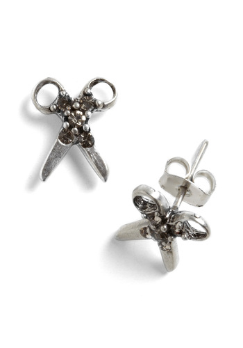 A Cute Above Earrings - Solid, Rhinestones, Silver, Handmade & DIY