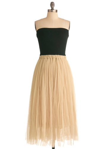 Perfectly Curated Dress - Long, Tan / Cream, Black, Party, Strapless, Ballerina / Tutu, Twofer, Maxi