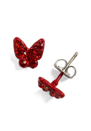 Butterfly Garnet Earrings - Red, Solid, Rhinestones