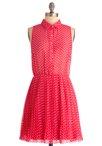 Nothing Shirt of Wonderful Dress - Mid-length, Pink, White, Polka Dots, Casual, Shirt Dress, Sleeveless