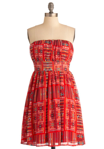 Festival Queen Dress - Red, Multi, Multi, Print, Cutout, Casual, Empire, Strapless, Summer, Mid-length