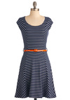 Oceanside Orchard Dress - Mid-length, Blue, Orange, White, Stripes, Nautical, Cap Sleeves, Belted, Fit & Flare