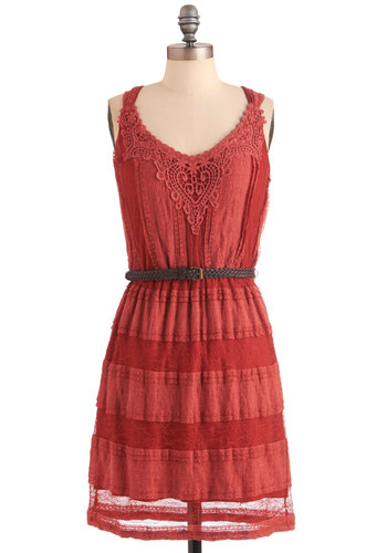 So Nice to See You Dress - Mid-length, Red, Solid, Embroidery, Casual, Shift, Tank top (2 thick straps), Lace