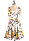 Flower Couple Dress - Short, Yellow, Blue, Pink, Floral, Bows, Pleats, Party, A-line, Tank top (2 thick straps), Spring, Multi, White, Cotton, Tis the Season Sale