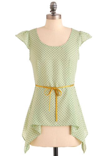 Fresh Mint And Chocolate Top - Mid-length, Green, Black, Polka Dots, Casual, Cap Sleeves, Pastel, Mint