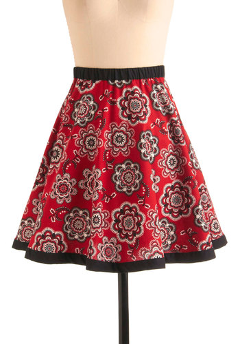 Flower Share Skirt - Red, Black, Grey, White, Floral, Casual, A-line, Folk Art, Multi, Cotton, Mid-length