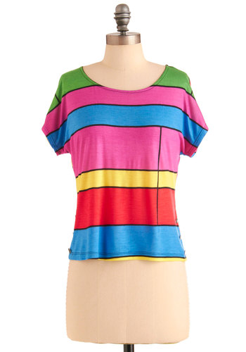 Button In Top - Red, Yellow, Green, Blue, Stripes, Buttons, Casual, Vintage Inspired, 60s, Short Sleeves, Pink, Short