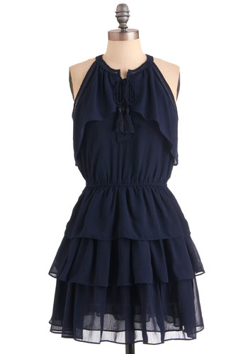 Nightingale and Day Dress - Short, Blue, Solid, Ruffles, Tassles, Tiered, Casual, Boho, A-line, Halter, Tie Neck