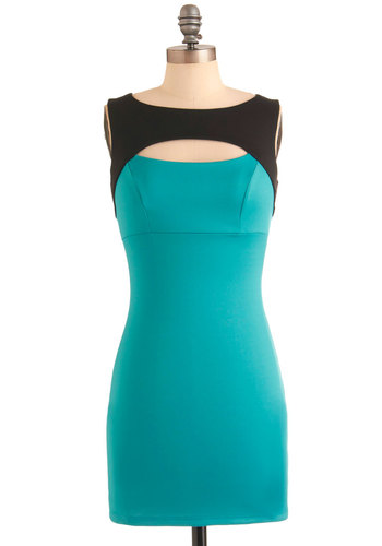 Seaside Discotheque Dress - Short, Green, Black, Cutout, Sleeveless, Girls Night Out, Bodycon / Bandage