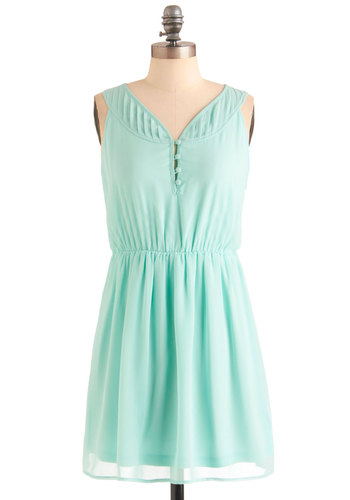 Good to Sea You Dress - Short, Green, Solid, Buttons, Pleats, Party, Shift, Sleeveless, Spring, Pastel, Chiffon, Sheer, Mint