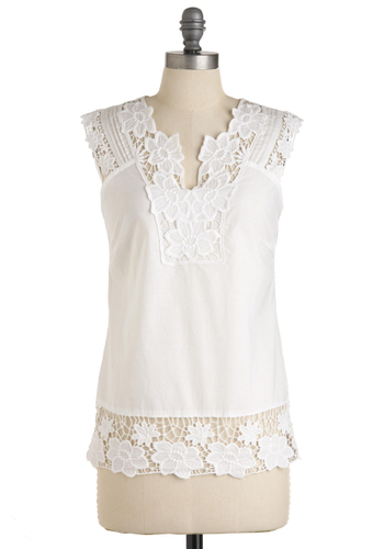 Fun in the Sunroom Top - White, Solid, Embroidery, Casual, Sleeveless, Summer, Cotton, Mid-length