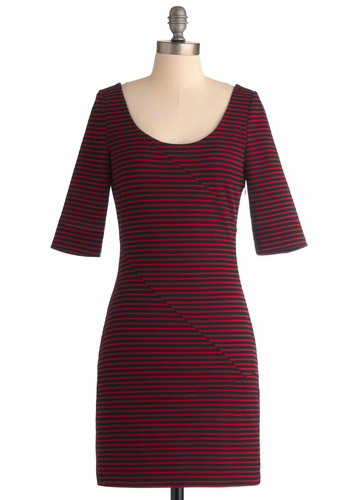 Reading List Dress by Jack by BB Dakota - Red, Black, Stripes, Casual, Shift, 3/4 Sleeve, Mid-length, Exclusives, Bodycon / Bandage, Tis the Season Sale, Scoop