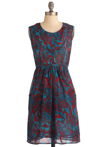 Color Class Dress - Mid-length, Red, Blue, Print, Pockets, Party, Shift, Sleeveless, Multi, Chiffon, Sheer