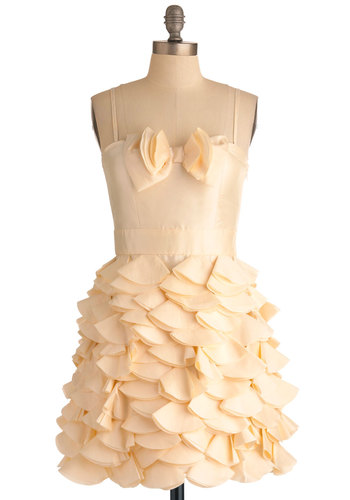 Frill of the Moment Dress - Short, Cream, Solid, Bows, Scallops, Tiered, Wedding, Party, Spaghetti Straps, Mini