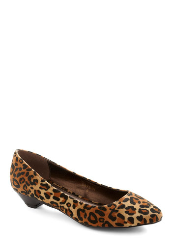 Cat's Out of the Box Heel - Brown, Tan / Cream, Black, Animal Print, Casual, Low, Faux Leather