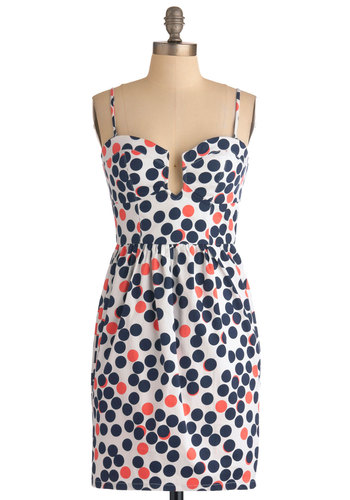 Gumball You Need Dress - Multi, Blue, Pink, White, Polka Dots, Party, Shift, Spaghetti Straps, Summer, Cotton, Short