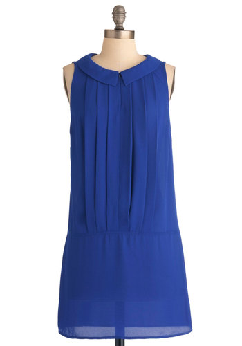 Drop Waist No Time Dress - Short, Blue, Solid, Pleats, Party, Drop Waist, Sleeveless, Girls Night Out, Sheer, Collared