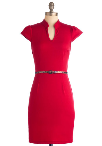 Op-Red Columnist Dress - Mid-length, Red, Solid, Animal Print, Work, Shift, Cap Sleeves, Exclusives, Belted, Cocktail, Bodycon / Bandage