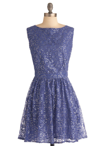 Shimmering Star Dress in Nightfall by Louche - Mid-length, Purple, Cutout, Sequins, Party, A-line, Lace, Sleeveless, Solid, Glitter, Cocktail, Holiday Party, Boat, Fit & Flare, International Designer