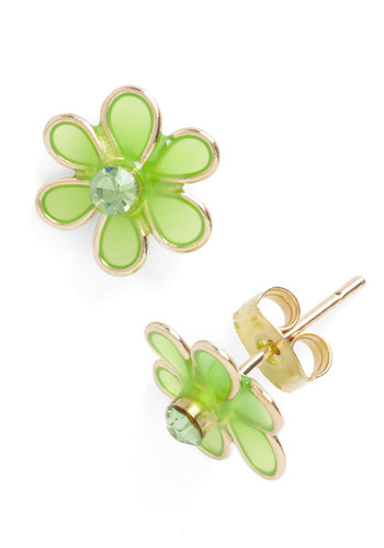 The Perfect Peridot Earrings - Green, Solid, Rhinestones, Vintage Inspired, 70s, Spring