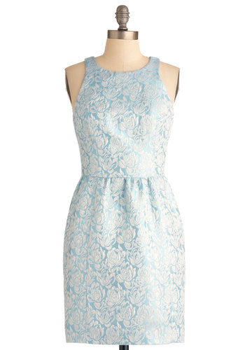 Light of the Party Dress - Mid-length, Blue, White, Floral, Special Occasion, Sheath / Shift, Party, Racerback