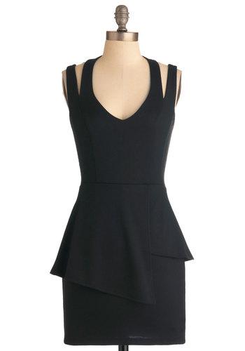 Missing Slink Dress - Short, Black, Solid, Exposed zipper, 80s, Shift, Girls Night Out, Vintage Inspired, Halter, Peplum, V Neck