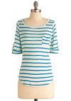 Stripe Zone Top in Blue - Blue, Stripes, Buttons, Pockets, Casual, Short Sleeves, White, Mid-length
