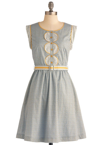 Holland Oats Dress by Louche - Mid-length, Blue, Yellow, Floral, Buttons, Pockets, Casual, A-line, Cap Sleeves, Belted, Pastel, Cotton, International Designer