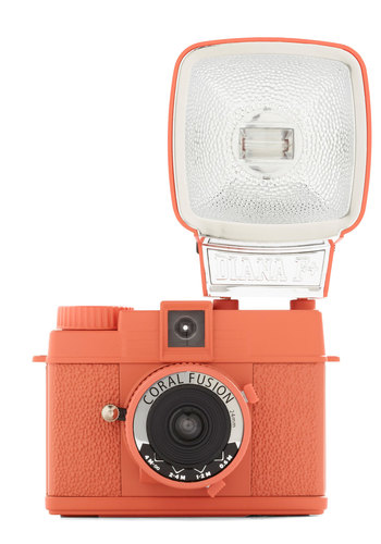 Special Edition Diana Mini Camera in Coral Fusion by Lomography - Orange, Mid-Century, Travel