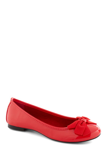 Patent Perfection Flat in Maraschino - Red, Solid, Bows
